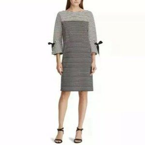 Lauren Ralph Lauren Striped Bell Sleeve Dress M